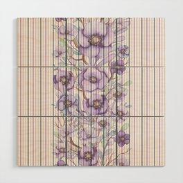 Watercolor purple lavender lilac floral stripes Wood Wall Art