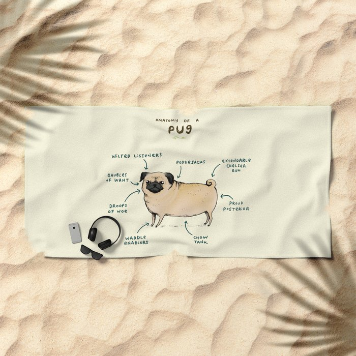 Anatomy of a Pug Beach Towel
