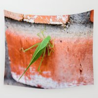 bug Wall Tapestries featuring Leaf Bug by Holly O'Briant