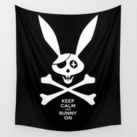 skeleton Wall Tapestries featuring Skeleton Bunny by SEVENTRAPS