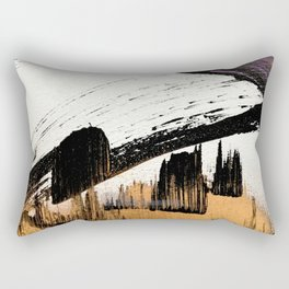 Axis [1]: a bold, minimal abstract in gold, purple, blue, black and white Rectangular Pillow