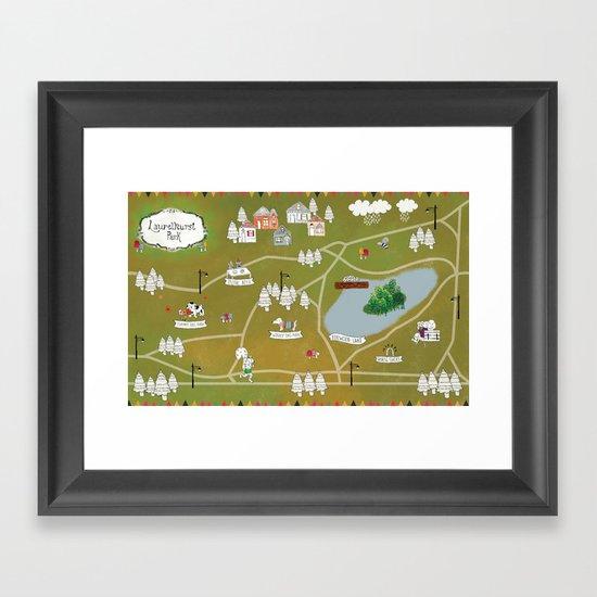 Map of Laurelhurst Park Framed Art Print