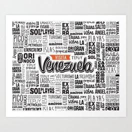 Venezuela Lettering Design - Black and white Art Print