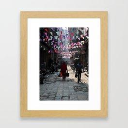 kathmandu streets Framed Art Print