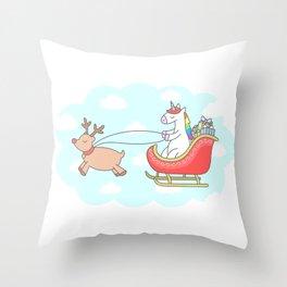 Unicorn Sleigh Throw Pillow