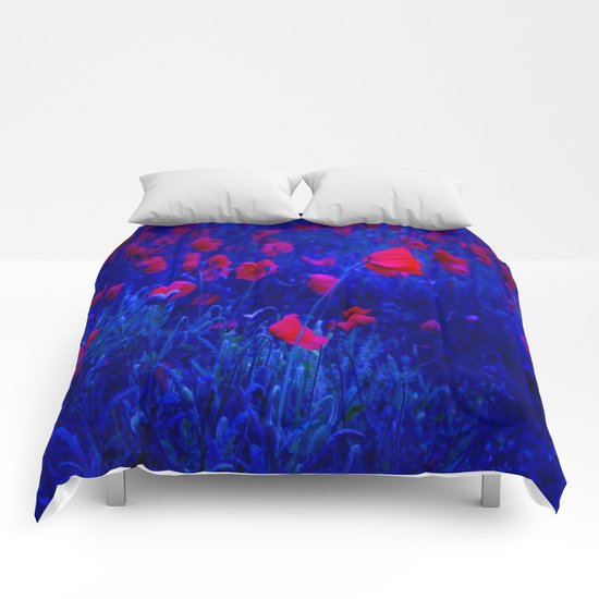 Red in Blue Comforters