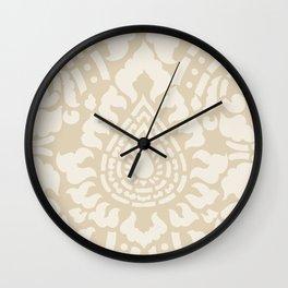 Beige Tan Damask Pattern Wall Clock