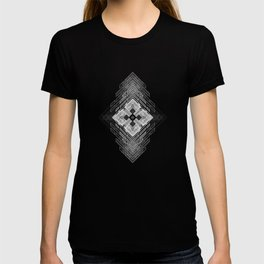 White fractal geometric shapes with compass symbol T-shirt