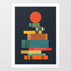 Book stack with a ball Art Print