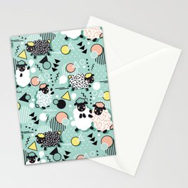 Mééé Memphis sheep // mint background Stationery Cards