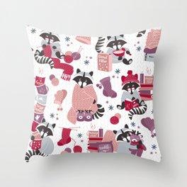 Hygge raccoon // white background Throw Pillow