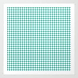 Modern green white checker picnic stripes pattern Art Print