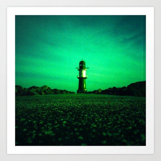 GREEN LIGHTHOUSE Art Print
