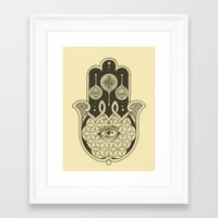 hamsa Framed Art Prints featuring Hamsa by Joel Amat Güell