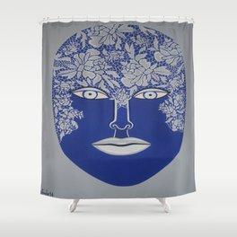 Woman's Visage blue face Shower Curtain