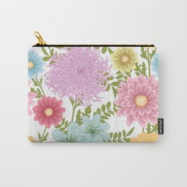 Painted Floral Pattern With Dahlias And Chrysanthemums Carry-All Pouch