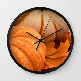 Two Autumn Pumpkins And Elegant Fall-Colored Leaf Wall Clock