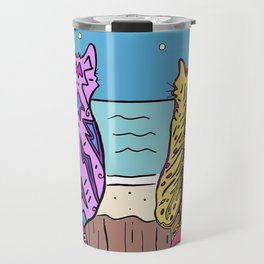 Cats on a fence by the sea Travel Mug