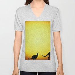 kangaroo australia decline evening silhouettes Unisex V-Neck