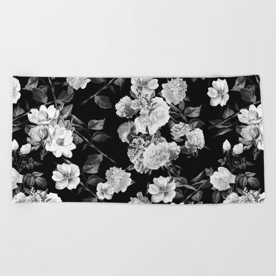 Black and White Botanic Pattern Beach Towel