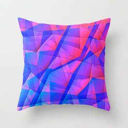 Bright contrasting fragments of crystals on irregularly shaped blue and pink triangles. Throw Pillow