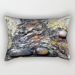 Metallic Melodrama I - Mixed Media Beeswax Encaustic Acrylic Abstract Modern Fine Art, 2015 Rectangular Pillow