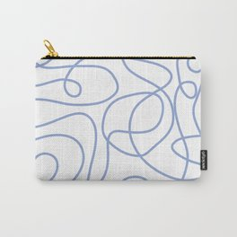 Doodle Line Art   Periwinkle Lines on White Background Carry-All Pouch