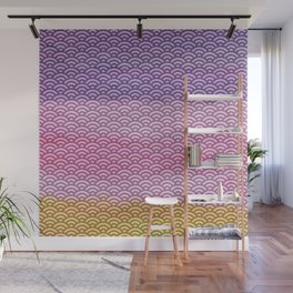 Pink/Purple/Yellow Watercolor/Paint Seigaiha Pattern Wall Mural