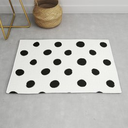 Modern Handpainted Abstract Polka Dot Pattern Rug