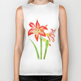 orange Hippeastrum vittatum montanine flower watercolor Biker Tank