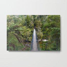 A Crossing Bridge in the Jungle, Abel Tasman, New Zealand Metal Print