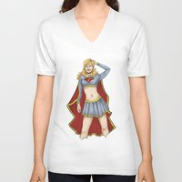 supergirl V-neck T-shirts featuring Supergirl by kittencasanova