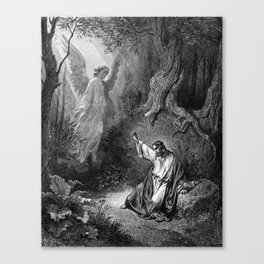 Gustave Dore - Jesus suffers agony in the garden of Gethseman Canvas Print