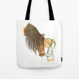 Horse and little girl embrace - Artwork that re-visits your favorite childhood memories Tote Bag