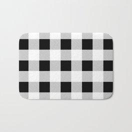 western country french farmhouse black and white plaid tartan gingham print Bath Mat