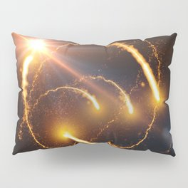 Flying Comets and light rays, digital art Pillow Sham