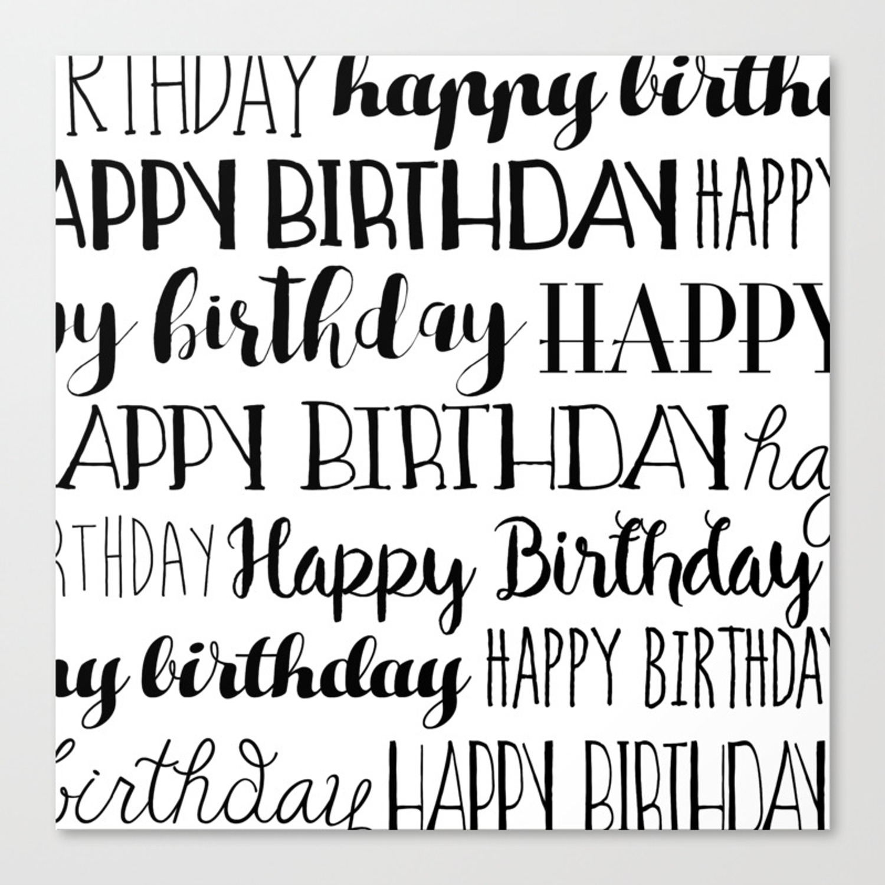 Happy birthday black and white pattern canvas print