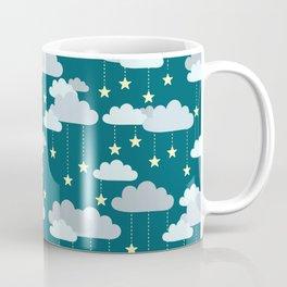 Clouds & Stars Night Sky Pattern Coffee Mug