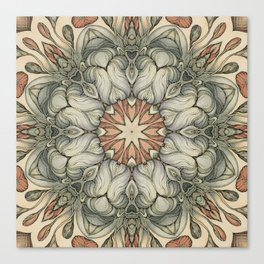 abstract flowers hand drawn and  kaleidoscope mandala Canvas Print