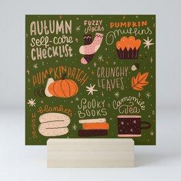 Autumn Self-care Checklist Mini Art Print