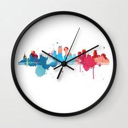 Dallas Cityscape Watercolor Wall Clock