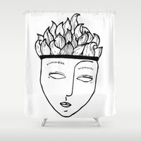 mask Shower Curtains featuring Mask by Leandra Lilly Dreyer