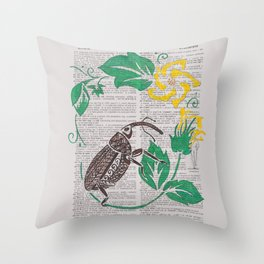 I Shall Fear No Weevil   (Boll Weevil and Cotton Blossoms) Throw Pillow
