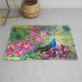 Elegant Peacock Image and Musical Notes Rug