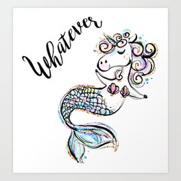 Unicorn mermaid, Funny Unicorn, Funny Mermaid, Cute Unicorn, Cute Mermaid Art Print