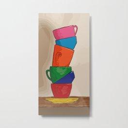 Rainbow Coffee Cups Metal Print