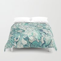 fancy Duvet Covers featuring Fig Leaf Fancy - a pattern in teal and grey by micklyn