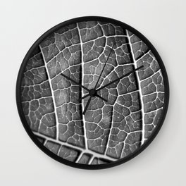 LEAF STRUCTURE BLACK AND WHITE Wall Clock