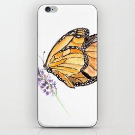 Monarch Butterfly Watercolor Art, Orange Butterfly Painting, Purple Flower iPhone Skin