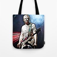 u2 Tote Bags featuring U2 / Adam Clayton by JR van Kampen